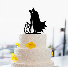 Personalized Batman And Catwoman Silhouette Wedding Cake Topper Kiss Couple Gift