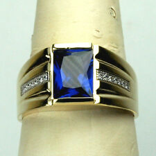 14K solid yellow gold stunning Sapphire men's 9x7mm ring size 10