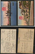 Spain  2 nice color post cards to US    1921           KL0211