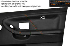 ORANGE STITCH 2X FRONT DOOR CARD LEATHER COVERS FITS BMW E36 SALOON SEDAN 91-98