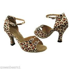 1620 Leopard Satin Ballroom Salsa Latin Dance Shoes heel 3 Size 5.5 Very fine