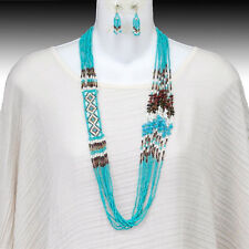 SOUTHWEST TRIBAL RODEO TURQUOISE INDIAN SEED BEAD GLASS BEADED NECKLACE WESTERN