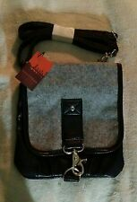 TokyoBay Small Messenger Cross Body Shoulder Faux Leather Black & Gray Handbag