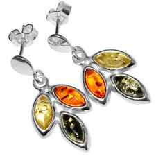 3.92g Authentic Baltic Amber 925 Sterling Silver Earrings Jewelry A5460
