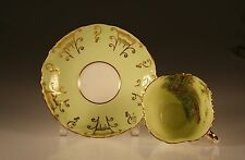 Aynsley Rare Bluebell Time Pale Green Leaf Molded Cup and Saucer c. 1950s