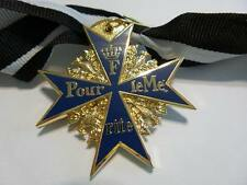 Imperial German Por Le Merite blue max medal award w full neck ribbon 24K Gold