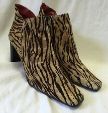 Palizzio Zebra Suede Fabric Booties Ankle Boots Women's 10/42 Fashion Heels