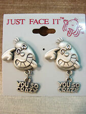 """JJ"" Jonette Jewelry Pewter ""YOU SO CRAZY' Face Pierced Earrings by J. Benton"