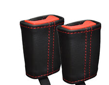 RED STITCHING 2X FRONT SEAT BELT LEATHER COVERS FITS VW LUPO 1998-2005