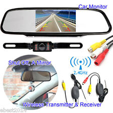 "4.3"" Car TFT LCD Mirror Monitor + Wireless Reverse Rear View Backup Camera Kit"