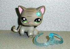 Littlest Pet Shop LPS GREY STRIPED SHORT HAIR CAT W/Blue Flower Green Eyes 2006