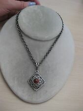 Estate Costume Sarah Coventry Red and Black Cabochon Filigree Necklace