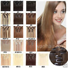 """7pcs Clip In Hair Extensions 15""""-28"""" Remy Natural Human Hair Brown Blonde Black"""