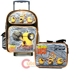 Despicable Me 3 Minions Large School Roller Backpack Lunch Bag 2pc Set Movie