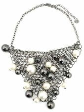 Zest Mesh Chain Mail Collar Necklace with Faux Pearls Pewter
