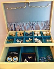 Antique Jewelry Box Lot With Jewelry Bundle Earrings, Brooch, Pendant