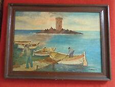 tableau artiste peintre  DURANTE pêcheur varois