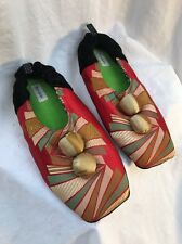 GOODY Asian Kimono Geometric CUSHIONED SLIPPERS LADIES SZ M Art to wear