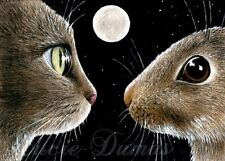 ACEO art print Cat 413 rabbit bunny from original painting by L.Dumas