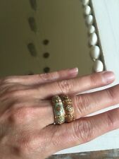 NEW Enamel stackable ring 1 Gold Tone Heart Band Brown Topaz Enamel size 8