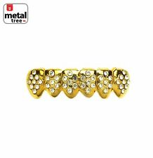 Hip Hop Iced Out 14k Gold Plated Bottom Gold CZ Mouth Caps Grillz S011-G