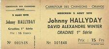 RARE / BILLET TICKET COMPLET - JOHNNY HALLYDAY EN CONCERT A ORANGE : FRANCE 1970