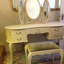 French Louis Style 5 Drawer Kidney Shape Triple Mirror Dressing Table With Stool