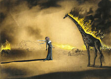 Salvador Dali Burning giraffe Reproduction GICLEE 16.5X12 CANVAS PRINT