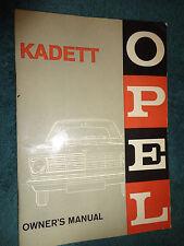 1966 BUICK OPEL KADETT OWNER'S MANUAL / ORIGINAL GUIDE BOOK