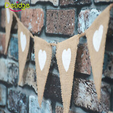 Europe Rustic Wedding Party Pull Flag Hessian Burlap Bunting Banner Photo Props