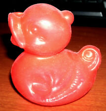 CLASSIC RUBBER DUCK SHAPE NOVELTY BLOWMOLD RED-ORANGE PLASTIC COLLECTIBLE