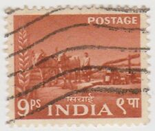 Stamp(I177)1955 INDIA 9p brown bullock driven wellow356