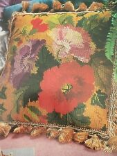 Pretty Popies Floral Pillow Design OOP Cross Stitch PATTERN (W)