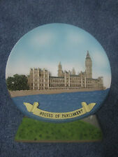 London, England, Houses of Parliament Souvenir Collectible Plate with Stand