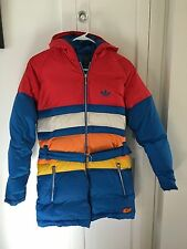 Adidas Retro Carlo Gruber Down Feather Puffy Jacket Coat Vintage Sz S Hood