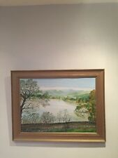 Large Original Signed Oil Painting Low Wood Windermere  Lake District Landscape