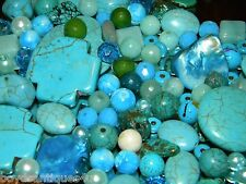 NEW RANDOM 1/2 Pound BLUE 6-12mm MIXED LOOSE Bead Lot Gemstone, Pearls, GLASS