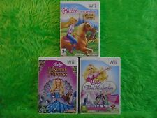 wii BARBIE x3 Games Horse Adventures + Three Musketeers + Island Princess PAL UK
