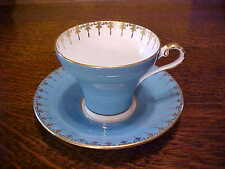 VINTAGE AYNSLEY CHINA CORSET TURQUOISE TEACUP & SAUCER GOLD SWAG & TASSEL