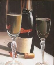 Wine Bottle Art Painting Still Life Bar Decor Oil Canvas Signed 02786