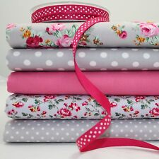 lot de 5 coupons fat quarter MEDFIELD ROSE GRIS ROSE 100% TISSU COTON + 1m ruban