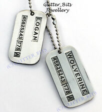 2 Wolverine Origins BRUSHED STEEL Dog Tags Large Military Spec X-Men James Logan
