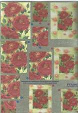 3D Dufex Paper Tole Decoupage Sheet Stunning Pyramex Roses Foil NEW