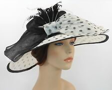 New Church Kentucky Derby Sinamay Wide Brim Dress Hat 3097 Black(Top)/ Off White