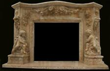 MONUMENTAL HAND CARVED MARBLE CHERUB ESTATE FIREPLACE MANTEL - JD23