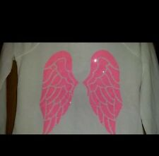 Victorias Secret Supermodel Angel Wings HOODIE Large NWT White Hot Pink Wings