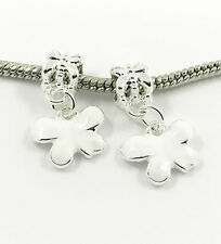 2pcs Silver Butterfly European Charm Spacer Beads Fit Necklace Bracelet DIY //A2