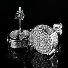 18K White Gold ICED OUT AAA Lab Diamond Micropave Round Stud HipHop Earring 12S