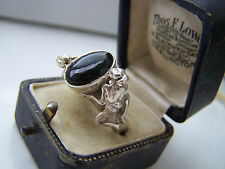 FABULOUS VINTAGE STERLING SILVER ONYX & DEMONS RING SIZE T VERY UNUSUAL & RARE