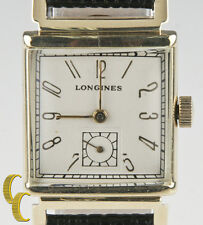 Longines 14k Yellow Gold Art Deco Men's Hand-winding Watch w/ Leather Band